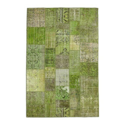 """Pre-owned Green Overdyed Turkish Patchwork Carpet - Traditional Turkish patterns from an assortment of vintage pieces mix to make this hand made, naturally distressed vintage rug. Full cotton backing and decorative blanket stitch edging.    Remnants of vintage wool on a cotton warp, made entirely by hand in the '60's through '80's when Turkish women still included weaving in their daily homemaking chores. Employing the sturdy double knot technique unique to Turkish rugs, multicolor floral and medallion motifs were created a row at a time using bright hand dyed wools. Considered too old fashioned for modern Turkish homes in their traditional incarnations, these rugs have languished in back rooms of the bazaars‰Ű_until now, as these fragments in excellent condition are overdyed and combined to create modern patchwork statements for the floor.    Note from the seller: """"Our revitalization process keeps rugs that may otherwise get tossed out of landfill. Repurposed discards are helping artisans connect and create, supporting the community we're building here in Istanbul to revive vanishing traditional fiber crafts.‰Űť    Please note that all sales are final - These amazing rugs are coming direct from Istanbul, Turkey and returns will not be allowed."""