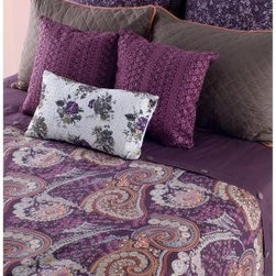 Rizzy Home Angelina Duvet with Poly Insert Bed Set - Creating the perfect coordinated look for your bed has never been easier than with the Rizzy Home Angelina Duvet with Poly Insert Bed Set. The pleasing pattern of purple paisley is certain to give the room a timeless appeal. Machine-washable for easy care, this complete set polishes up your bedroom perfectly. Available in your choice of size.Comforter Dimensions:Queen: 92L x 96W in.King: 96L x 108W in.About Rizzy HomeRizwan Ansari and his brother Shamsu come from a family of rug artisans in India. Their design, color, and production skills have been passed from generation to generation. Known for meticulously crafted, handmade wool rugs and quality textiles, the Ansari family has built a flourishing home-fashion business from state-of-the-art facilities in India. In 2007, they established a rug-and-textiles distribution center in Calhoun, Georgia. With more than 100,000 square feet of warehouse space, the U.S. facility allows the company to further build on its reputation for excellence, artistry, and innovation. Their products include a wide selection of handmade and machine-made rugs, as well as designer bed linens, duvet sets, quilts, decorative pillows, table linens, and more. The family business prides itself on outstanding customer service, a variety of price points, and an array of designs and weaving techniques.
