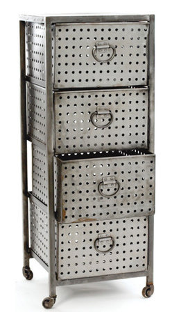 Go Home - Go Home Four Drawer Industrial Bin Unit - The Four Drawer Industrial Bin Unit features a metal frame that upholds four large metal drawers. The three top drawers can be moved in or out with ease and the bottom drawer is more like a container. The metal drawers of the Four Drawer Industrial Bin Unit have small holes gauzed on all the four sides which are equally complimented by the large metal loop handles in same finish. The 47 inch tall Four Drawer Industrial Bin Unit is perfect for small industries and is very easy in moving with the help of tires at the end of the each leg.