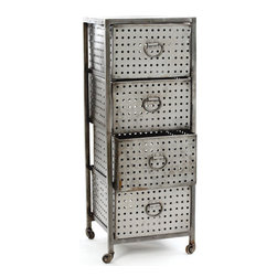 Four Drawer Industrial Bin Unit - The Four Drawer Industrial Bin Unit features a metal frame that upholds four large metal drawers. The three top drawers can be moved in or out with ease and the bottom drawer is more like a container. The metal drawers of the Four Drawer Industrial Bin Unit have small holes gauzed on all the four sides which are equally complimented by the large metal loop handles in same finish. The 47 inch tall Four Drawer Industrial Bin Unit is perfect for small industries and is very easy in moving with the help of tires at the end of the each leg.