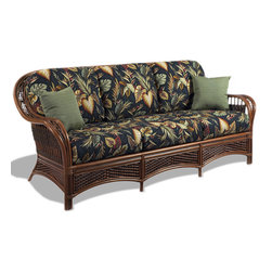 Wicker Paradise - Rattan Sofa - Tigre Bay - Our rattan sofa in the Tigre Bay collection is nothing but the best! Superior rattan that is fully assembled, finished in a rich brown color and comfortable for everyone. This sofa is a winner and best selling in newly renovated or constructed sun rooms.