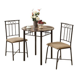 Monarch Specialties - Monarch Specialties 3045 3-Piece Bistro Set in Bronze and Cappuccino Marble - This three piece bistro set offers a classic look that will blend in with any decor. This round table features a solid cappuccino marble-look top, and sturdy bronze metal legs. The armless side chairs feature a circular design and a vertical slat back with cushioned upholstered seating for your comfort. The clean lines of this set will help create a rich ambiance that you and your family will love.
