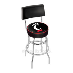 "Holland Bar Stool - Holland Bar Stool L7C4 - Chrome Double Ring Cincinnati Swivel Bar Stool - L7C4 - Chrome Double Ring Cincinnati Swivel Bar Stool w/ Back belongs to College Collection by Holland Bar Stool Made for the ultimate sports fan, impress your buddies with this knockout from Holland Bar Stool. This retro L7C4 logo stool has a 4"" cushion with a tough double-ring base with a chrome finish and a cushioned back to achieve maximum comfort and support. Holland Bar Stool uses a detailed screen print process that applies specially formulated epoxy-vinyl ink in numerous stages to produce a sharp, crisp, clear image of your team's emblem. You can't find a higher quality logo stool on the market. The structure is triple chrome-plated to ensure a rich, polished finish that will last ages. Barstool (1)"