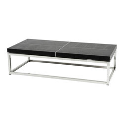 Eichholtz Oroa - Coffee Table Magnum, Polished Steel - Polished stainless steel and wood veneer top