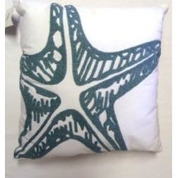 Starfish Decorator Pillow, Sea Green and White - Adding pillows of different shapes and sizes is always a no-brainer in a kid's room. I like the basic starfish look on this one.