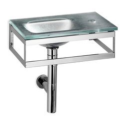 WS Bath Collections - Pocieta Wall Mounted Sink - Pocieta by WS Bath Collections Bathroom Sink (Washbasin) 17.7 x 10.2 Wall-Mount Integrated Glass Basin and Top with Faucet Hole with Towel Bar, Without Overflow, Single Faucet Hole, Made in Italy