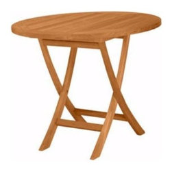 """Anderson Teak - TBF035R 35-Inch Round Bistro Folding Table - This solid teak """"Round Bistro Folding Table"""" makes the perfect addition to your patio, garden, backyard or anywhere. Fold it up and carry it away. Just add some chairs and it is ready for the party!"""