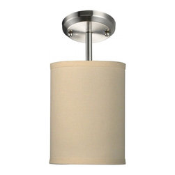 """One Light Brushed Nickel Off White Linen Shade Drum Shade Semi-Flush Mount - Add a modern accent to your room with the Albion family.  The mini semi flush is ideal to pop accent light into a small area.  This mini semi flush drum shade is covered in a finely textured off white linen fabric with a finished edge trim detail.  This fixture is finished in brushed nickel and comes with one 4 1/2"""" rod for a semi flush mount."""