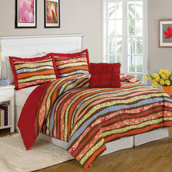 None - Parkslope 8-piece Bed in a Bag with Sheet Set - This reversible bed in a bag set provides a vibrant front with red stripes and colorful patterns. The comforter and shams reverse,while the bedskirt and coordinating sheeting tie the look together with printed designs.