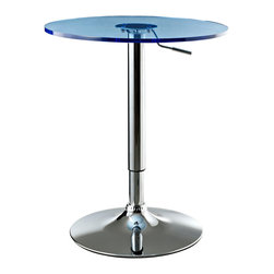 LexMod - Portal Adjustable Bar Table with Clear Acrylic Blue Top - Turn up the energy and watch as the sophisticated sizzle of the Portal Adjustable Bar Table opens communication gateways. With discernment for gravitational needs, this polished aluminum retro modern piece declares every fete an entertainment success. Complete with a 360 degree swivel, single out all those around for the gift of pleasant conversation.