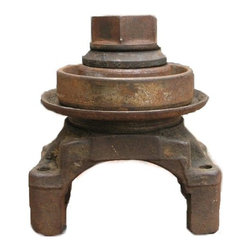 PauaArt - Industrial Combination Candle and Incense Holder - Industrial Candle Holder made from found objects. Nut and ring have been welded to the body as well as 4 small steel plugs for the 4 little holes on the edges of the piece where you can put incense sticks.