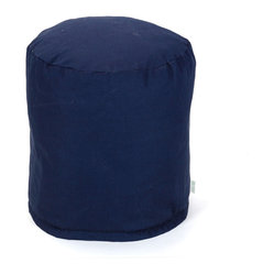 Outdoor Navy Blue Solid Small Pouf
