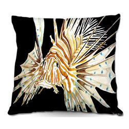 DiaNoche Designs - Pillow Woven Poplin from DiaNoche Designs by Marley Ungaro - Deep Sea Life- Lion - Toss this decorative pillow on any bed, sofa or chair, and add personality to your chic and stylish decor. Lay your head against your new art and relax! Made of woven Poly-Poplin.  Includes a cushy supportive pillow insert, zipped inside. Dye Sublimation printing adheres the ink to the material for long life and durability. Double Sided Print, Machine Washable, Product may vary slightly from image.