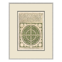 Soicher-Marin - Garden Plan C, Green - Giclee print with a silver  contemporary wood frame with off white mat insert.  Includes glass, eyes and wire.  Made in the USA. Wipe down with damp cloth