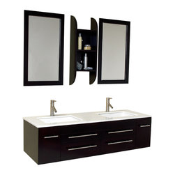 Fresca - Fresca Bellezzo Espresso Modern Bathroom Vanity w/Cultured Marble Countertop - Luxury in bathroom design has never been more apparent than with this model.