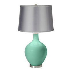 Color Plus - Contemporary Larchmere - Satin Light Gray Shade Ovo Table Lamp - This lamp is a bit pricey at $140, but I love the soft satin sheen of the lampshade.