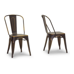 "Baxton Studio - Baxton Studio French Industrial Bistro Chair in Antiqued Copper (Set of 2) - This chic antique French design possesses an enduring style, making this one bistro chair you won't soon tire of looking at and sitting in. This Chinese-built steel stackable dining chair is finished with a faux antiqued copper color with a satin finish and has a trendy industrial feel.  To clean, wipe with a damp cloth.  Non-marking black plastic feet help protect sensitive flooring.  The chair is fully assembled.  Product dimension:17.5""W x 20.75""D x 33.375""H , seat dimension:14""W x 13.875""Dx 17.375""H"