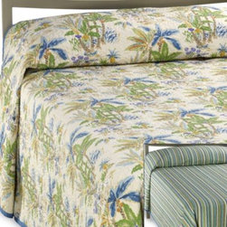 Scent-sation, Inc. - Lagoon Reversible Bedspread - Sweeping tropical palm trees in shades of blue and green against a sandy colored background give way to a colorful stripe pattern when reversed, making this quilted bedspread a great way to bring versatility to your decor. 100% cotton.