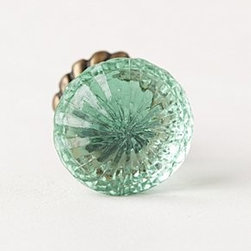 "Anthropologie - Simmered Glass Knob - Tighten with careHardware requiredGlass, brass1"" - 1.75"" diameter0.75"" projection1.75"" bolt can be trimmed to sizeImported"