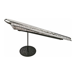 "Salvatecture Studio - Vintage 1949 Chevy Hood Ornament On Reclaimed Iron Stand - Sometimes a piece of art can rise above and, ""like a rock,"" provide a strong presence in your design. This unique vintage hood ornament will do just that. In fact, it might even become the ""heartbeat"" of a room. Chevy puns firmly intended."