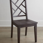 "Horchow - Two ""Karington"" Espresso Side Chairs - Imagine the possibilities—lattice-back chairs that mix and match with other pieces for casual dining at its best. Handcrafted of ash solids and quartered ash veneers. Hand-painted finish. Side chair sold in pairs; each, 18.5""W x 17.5""D x 37.75""T. Imported. Boxed weight, approximately 44 l"
