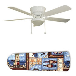 "Boats Sailboats and Lighthouses 52"" Ceiling Fan with Lamp - This is a brand new 52-inch 5-blade ceiling fan with a dome light kit and designer blades and will be shipped in original box. It is white with a flushmount design and is adjustable for downrods if needed. This fan features 3-speed reversible airflow for energy efficiency all year long. Comes with Light kit and complete installation/assembly instructions. The blades are easy to clean using a damp-not wet cloth. The design is on one side only/opposite side is bleached oak. Made using environmentally friendly, non-toxic products. This is not a licensed product, but is made with fully licensed products. Note: Fan comes with custom blades only."