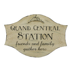 Grand Central Station,' Family and Friends Gather Here Wood Sign - I love this sign! It just sums up a family central hub space perfectly.