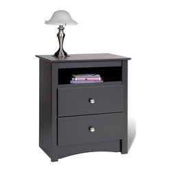 "Prepac Furniture - Prepac Sonoma 2 Drawer Tall Night Stand with Open Cubbie in Black - The Sonoma 2 Drawer Tall Night Stand with Open Cubbie in Black by Prepac Furniture provides ""affordable elegance"" for those looking for designer styles without the designer budget. Features include a profiled top, arched kick plate, solid brushed nickel knobs and drawers that run on smooth, all-metal roller glides with built-in safety stops. It is made from durable composite woods, and has no plastic edgebanding."