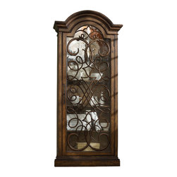 "Hooker Furniture - Hooker Furniture Melange Arabesque Display Cabinet - Reminiscent of an aged iron gate beckoning you to an enchanted entrance the Arabesque Display Cabinet is a charming focal point. Poplar Solids with Cherry Veneers and Glass. Dimensions: 36.5""W x 14""D x 83""H."