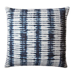 "l'aviva home - Stone Pillow, 24""x24"" - This collection was developed in collaboration with habibou coulibaly, the master artisan we have long worked with in burkina faso. Oversized swaths of each pattern were hand-dyed in natural indigo, and served as the source of our adaptation."