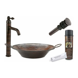 Premier Copper Products - Round Miners Pan Copper Vessel w/ORB Faucet - BSP1_VR16MPDB Premier Copper Products Round Miners Pan Vessel Hammered Copper Sink with ORB Single Handle Vessel Faucet, Matching Drain and Accessories