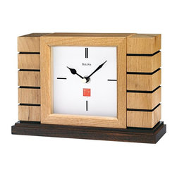 "BULOVA - Frank Lloyd Wright Usonian II Mantel Clock - Based on the ""board and batten"" walls utilized in the Usonian homes, 1936-1939"