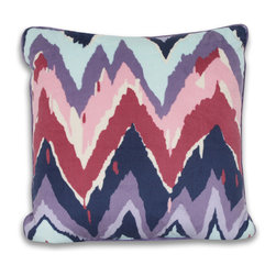 Dormify - Paintica Chevron Pillow - 16X16 - Paint the town purple.  The perfect amount of boho, chevron, soft and bold colors, the Paintica Chevron decorative pillow will add a pop of life to your space. Works well by itself, but brings the utmost impact on style when matched with other pieces from the Paintica Chevron collection. All about town - this decorative purple pillow will look fab on your bed, couch, or futon.
