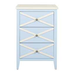 Safavieh - Sherrilyn 3 Drawer Side Table - Light Blue/ White - The easy-going nature of the Sherrilyn 3-drawer side table gets done up in fresh pastels, shown here in light blue finished poplar with charming contrasting white top and x-details on front. A relaxed piece that��_s functional and sweet for any room needing extra storage.