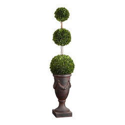 Uttermost Triple Topiary Preserved Boxwood - Towering on natural dragon willow branches in an aged black urn with rust brown wash. Preserved while freshly picked, natural evergreen foliage looks and feels like living boxwood. Towering on natural dragon willow branches in an aged black urn with rust brown wash. Preserved while freshly picked, natural evergreen foliage looks and feels like living boxwood.