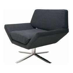 "Nuevo Living - Sly Modern Lounge Chair by Nuevo Living, Dark Grey - The Sly Lounge Chair by Nuevo Living is craftsmanship at its finest. Offering a hardwood frame and CFS foam padding wrapped in light or grey wool, this piece is ideal for any modern or contemporary living space. Furthering its aesthetic appeal, this chair sits on a 4-legged stainless steel base with 360-degree swivel capabilities. This stylish and functional Sly Lounger measures 31"" high, 35"" wide and 27"" deep. Its seat sits 19"" high and is 21"" deep. Weighing 38 pounds, this piece arrives by freight carrier."