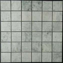 """Mesh-Mounted Ming Green Polished Marble Mosaic Tiles 2"""" x 2"""" - 2"""" x 2"""" Mesh-Mounted Ming Green Marble Mosaic Tile is a great way to enhance your decor with a traditional aesthetic touch. This polished Mosaic Tile is constructed from durable, impervious Marble material, comes in a smooth, unglazed finish and is suitable for installation on floors, walls and countertops in commercial and residential spaces such as bathrooms and kitchens."""