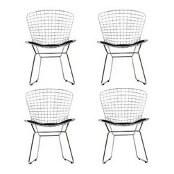"""LexMod - CAD Dining Chairs Set of 4 in Black - CAD Dining Chairs Set of 4 in Black - The minimal nature of this CAD Wire Side Chair is an asset for any lover of modern furniture. A simple yet stylish design evoking the height of modern classic design. As comfortable as it is attractive, this is the sort of accent chair that starts conversations. Set Includes: Four - CAD Wire Side Chairs in Silver Frame Chrome Steel Frame, Vinyl Seat Pad, with Velcro Strips, Plastic Non-Marking Feet Overall Product Dimensions: 21""""L x 21""""W x 32""""H Seat Dimensions: 18""""L x 17""""H Leatherette Seat Cushion Dimensions: 16.5""""L x 17""""W - Mid Century Modern Furniture."""