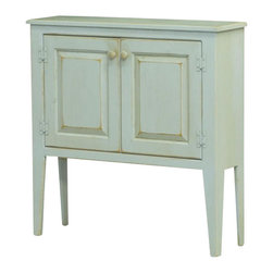 Chelsea Home Furniture - Chelsea Home Eliza Honey Cabinet - Every country kitchen needs a quaint 4-legged little cabinet. This 36x36x11 2-door Shaker style Eliza Honey cabinet, shown in Seafoam, is painted, sanded and sealed to rustic perfection _ the perfect size for small household items. Chelsea Home Furniture proudly offers handcrafted American made heirloom quality furniture, custom made for you. What makes heirloom quality furniture? It's knowing how to turn a house into a home. It's clean lines, ingenuity and impeccable construction derived from solid woods, not veneers or printed finishes over composites or wood products _ the best nature has to offer. It's creating memories. It's ensuring the furniture you buy today will still be the same 100 years from now! Every piece of furniture in our collection is built by expert furniture artisans with a standard of superiority that is unmatched by mass-produced composite materials imported from Asia or produced domestically. This rare standard is evident through our use of the finest materials available, such as locally grown hardwoods of many varieties, and pine, which make our products durable and long lasting. Many pieces are signed by the craftsman that produces them, as these artisans are proud of the work they do! These American made pieces are built with mastery, using mortise-and-tenon joints that have been used by woodworkers for thousands of years. In addition, our craftsmen use tongue-in-groove construction, and screws instead of nails during assembly and dovetailing _both painstaking techniques that are hard to come by in today's marketplace. And with a wide array of stains available, you can create an original piece of furniture that not only matches your living space, but your personality. So adorn your home with a piece of furniture that will be future history, an investment that will last a lifetime.
