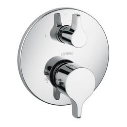 """Hansgrohe - Hansgrohe 04352000 Chrome  S/E Thermostatic Valve Trim with Volume - S/E Thermostatic Valve Trim with Volume Control and Metal Lever Handles Less ValveFeatures:Thermostatic temperature controlVolume control for 1 outletAnti-scald 100 degree safety stopFlow 8GPM @ 44 PSISet your preferred water temperature7/8 shallow extension set 13596 (not included) Fits Rough In 01850 (Required)Specifications:Length: 10.75""""Width: 7.75""""Height: 5.5 """"Depth: .625""""Diameter: 6.75"""""""