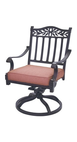Darlee - Darlee Charleston Swivel Rocker Chair Multicolor - DL1091-3/101 - Shop for Chairs and Sofas from Hayneedle.com! Proud columns and a handsome vine and leaf detail make the Darlee Charleston Swivel Rocker Chair a classically beautiful way to upgrade your outdoor living space. This chair features comfortably contoured arms a sturdy base that rocks and swivels plus spicy chili fabric cushions. It's made of cast aluminum with a hand-applied powder-coated antique bronze finish that withstands the elements nicely. About DarleeSince 1993 Darlee has developed a wide variety of products to help you create your ideal outdoor-living environment. Working with high-quality materials Darlee achieves a large spectrum of styles that covers a range of interests as well as aesthetic tastes. From classic to contemporary from conversation sets to dining sets to fire pits Darlee has you covered for outdoor entertaining. Because the company knows good business is built on trust and integrity Darlee focuses on reliable quality construction and remains committed to providing customers with the best service possible.