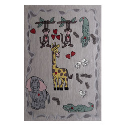 Rug - ~4 ft x 6 ft. Beige Kids Bedroom Area Rug,  Soft & hand-tufted - ZOOMANIA KIDS COLLECTION
