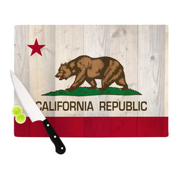 """Kess InHouse - Bruce Stanfield """"California Flag Wood"""" Brown Cutting Board (11"""" x 7.5"""") - These sturdy tempered glass cutting boards will make everything you chop look like a Dutch painting. Perfect the art of cooking with your KESS InHouse unique art cutting board. Go for patterns or painted, either way this non-skid, dishwasher safe cutting board is perfect for preparing any artistic dinner or serving. Cut, chop, serve or frame, all of these unique cutting boards are gorgeous."""
