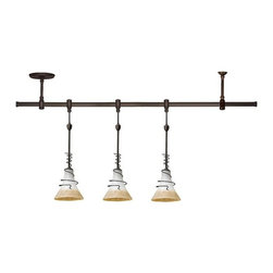 Sea Gull Lighting - Saratoga Rail Kit - 94512-71 - Classic styling and versatility make this three pendant kit a great choice for your kitchen island. The textured ember glow glass features and off-white top that gives way to an amber bottom. A removable metal spiral cage enhances the classic appeal. The rail in flexible and can be bent in any shape needed. The kit includes three pendants, 10 feet of cuttable hanging cord for each pendant, a flexible 46-inch rail, one power feed ceiling support, one standard ceiling support and two end caps. 120 volt. Takes (3) 10-watt halogen G9 bulb(s). Bulb(s) sold separately. Dry location rated.