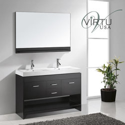 "Virtu USA - Virtu USA MD-423-C-ES Espresso / White Artificial Stone Top Gloria - Included Components:Hardwood vanity cabinetCeramic vanity top2 single basin bathroom sinksSingle hole bathroom faucetMatching drain assemblyVanity Cabinet Features:Constructed of hardwood providing a lifetime of durabilityVanity features 2 full extension drawers providing ample concealed storage spaceEquipped with 2 shelf for even more storage spaceThis model is a complete package - vanity top includedThis fixture is highlighted by an included full-sized mirrorComplete with matching decorative hardwareAll necessary parts and hardware for assembly and installation are includedSolid cabinet construction ensures years of reliable performanceVanity Top Features:Vanity top is Constructed of ceramic material providing a sturdy feel and clean appearanceTop features 2 recessed single basin sinksCoordinating faucet and waste assembly included with vanity topSturdy mounting assembly - ensuring safety and reliabilityAll hardware needed for installation is includedVanity Cabinet Specifications:Overall Height: 33-9/10"" (measured from ground level to highest point on vanity)Overall Depth: 17-1/5"" (measured from back most to front most point on vanity)Overall Width: 47-1/5"" (measured from left most to right most point on vanity)Mounting Style: FreestandingNumber of Drawers: 2Number of Doors: 2Vanity Top Specifications:Overall Depth: 17-1/5"" (measured from back edge to front edge of vanity top)Overall Width: 47-1/5"" (measured from left most to right most point on vanity top)Sink Installation Type: Drop InNumber of Faucet Holes: 1Drain Outlet Connection: 1-1/2"""