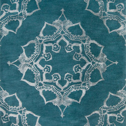 """Surya - Surya Henna HEN-1003 (Teal, Gray) 3'3"""" x 5'3"""" Rug - The Surya Henna Collection features hand tufted rugs made with 50% Wool/30% Viscose/20% Cotton."""