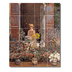 Picture-Tiles, LLC - Camille At The Window Tile Mural By Claude Monet - * MURAL SIZE: 40x32 inch tile mural using (20) 8x8 ceramic tiles-satin finish.