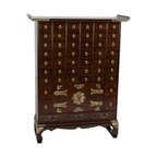 Oriental Furniture - Korean Antique Style 49 Drawer Apothecary Chest - Classic heirloom quality Korean / Japanese style oriental cabinet, authentically configured as an Asian style herbal medicine chest. The beautiful array of small hand crafted drawers provide a striking design accent as well as practical storage for organizing collections of small objects such as buttons or jewelry.