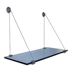 "Expo Design Inc - Cable Shelf Kit, 8""x24"" - 8""x24""x 3/8"" thick tempered glass shelf pre packaged with a set of Cable Shelf Brackets."