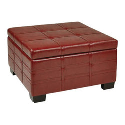 Office Star - Office Star Avenue Six Detour Strap Ottoman with Tray in Plum Eco Leather - Detour Strap Ottoman with Tray in Plum Eco Leather Ottoman (1)